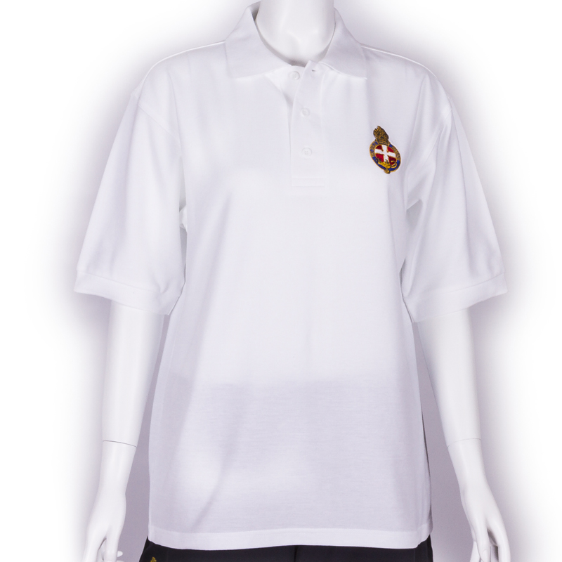 White polo shirt with GB Crest - Unisex fit & longer length with company name