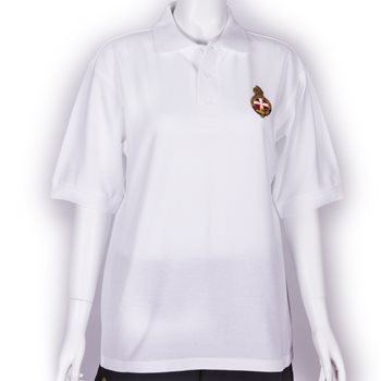 White polo shirt with GB Crest - Unisex fit & longer length