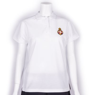 White polo shirt with GB Crest - Ladies fit & shorter length