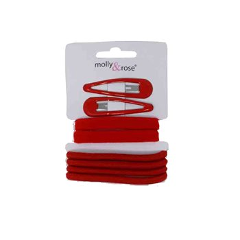 Red Hair Clips & Elastic Set