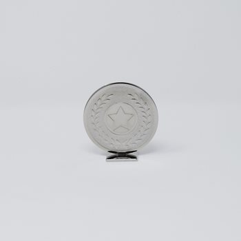 Small Round Silver Metal Trophy 6cm (GB00602)