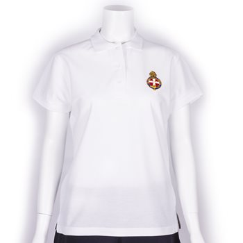 White polo shirt with GB Crest Ladies fit & shorter length with company name