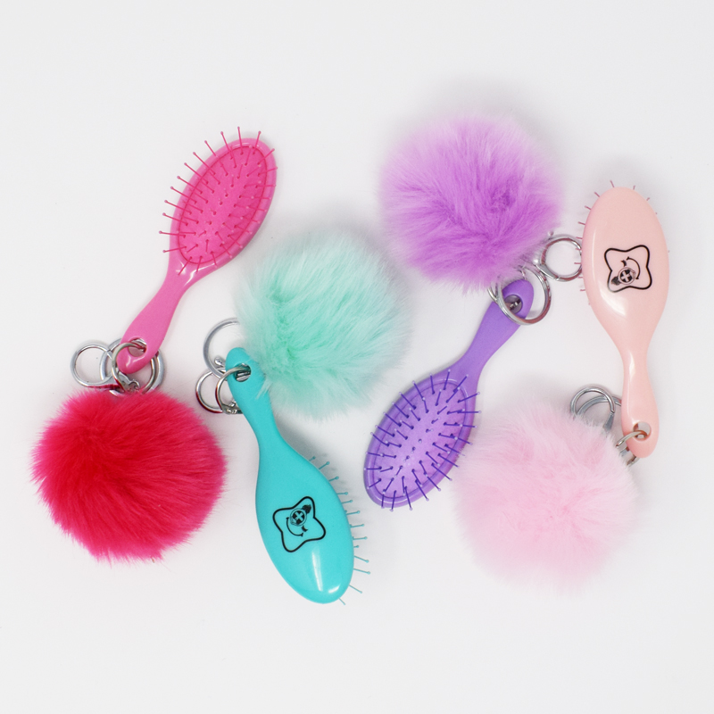 Candy Brush Keyring With Pom Pom